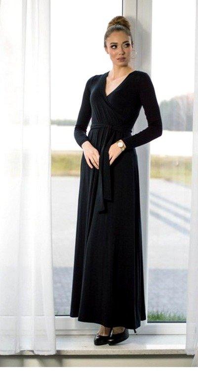 22ec0548a0 109 Wizytowa Sukienka z długim rękawem MIRACLE- czarna czarna ...