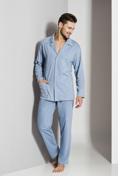faca5f446bafc2 265 Piżama męska rozpinana Regina - niebieska niebieski | Dla niego ...
