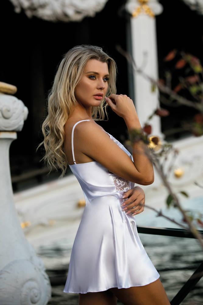 Hana Halka satynowa koszulka damska DKaren biała biała  9c36d