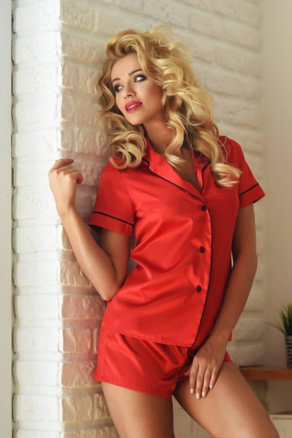 d8420daa689a64 Imperia Komplet damski Kalimo satynowa piżama - czerwony 589 ...